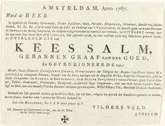 Uitnodiging voor de begrafenis van Kees Salm, 1787, anoniem, 1787.   Tekstblad met een uitnodiging namens J. Verlem tot het bijwonen van de begrafenis van Kees Salm te Amsterdam op 1 november 1787. Satirisch begrafenisbriefje naar aanleiding van de vlucht van de Rijngraaf van Salm uit Utrecht, september-oktober 1787.