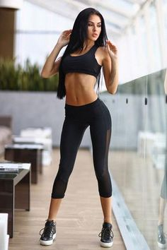 Bonnie Forest Women Sexy 2017 Black Yoga Set Hollow Out Mesh Sleeveless Top Patchwork Pants Fitness Wear Gym Clothing Sport Set Tops For Leggings, Sports Leggings, Tight Leggings, Yoga Leggings, Sports Vest, Mesh Leggings, Capri Leggings, Workout Leggings, Instyle Fashion