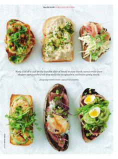 Donna Hay - for the love of sandwiches. We love bite sized treats like these Sandwiches, Donna Hay Recipes, Bistro Food, Brunch, Cafe Food, Dinner Is Served, Vegan Dishes, Food Inspiration, The Best