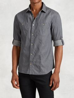 Love this: Cotton Linen Rolled Sleeve Shirt @Lyst