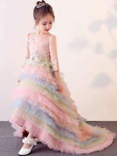 88cb140b549 Rainbow Color Hem Flowers Round Collar Long Sleeves Long Dress
