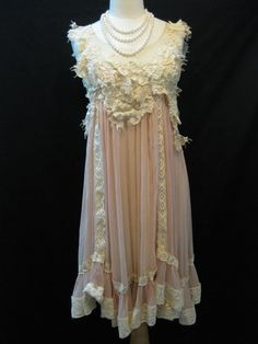 Elegant Hand-Embroidered Ivory Lace with Ice Pink Chiffon Babydoll Dress, front...the pearls need to go