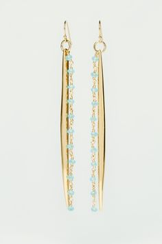 Gold Spike And Appatite Strand Earrings