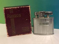 VINTAGE RONSON LIGHTER ORIGINAL BOX 6091 CHROMIUM STANDARD NEWARK USA SILVER JNJ