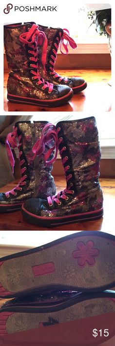 Circo sequin fashion boots (tennis shoes)😎 I called these my girls Rocker shoes...lol I had to buy these 2x for when they outgrew them! These are covered in sequins, laced up the front in hot pink and have a zipper on the inside so that your munchkin can get them on/off easy. The laces to help adjust the tightness of the shoe. Most if not all sequins attached. Good to great condition! Both my girlies loved these, and I admit they turned out WAY cuter than I anticipated! 🙃 Circo Shoes…