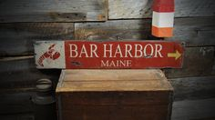 Custom Bar Harbor Maine Wood Lobster Sign - Rustic Hand Made Wooden ENS1000220 by TheLiztonSignShop on Etsy https://www.etsy.com/listing/185699650/custom-bar-harbor-maine-wood-lobster