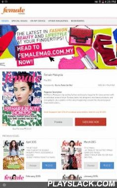 Female Malaysia  Android App - playslack.com ,  Female from SPH Magazines is Malaysia's top selling fashion and beauty magazine for savvy women with an individual sense of style. Runway looks, hot designers, new beauty products, and cool gadgets, plus updates on the latest happenings around the city and popular travel destinations.SPH Magazines, a wholly-owned subsidiary of Singapore Press Holdings, is Asia's leading magazine publisher. Reputed for its sterling editorial content and…