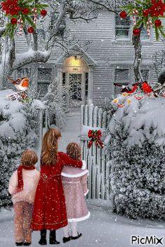 Cute Christmas Gifts, Merry Christmas To All, Vintage Christmas Cards, Christmas Wishes, Christmas Pictures, Christmas Greetings, Beautiful Christmas, Christmas Holidays, Christmas Scenery