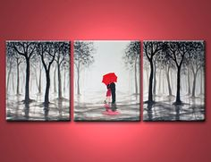 20%OFF Code:20VARY,kiss in rain,love couple,black white and red,large original abstract painting,48x20 inch,on stretched canvas,wedding gift on Etsy, $210.00