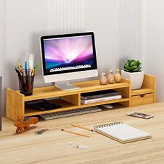 BLACKOBE Simple Stylish Bamboo Computer Monitor Stand Computer Riser, Laptop Stand and Desktop Storage Organizer with Shelves and Drawer Living Room Cabinets, Living Room Storage, Home Office Decor, Home Decor Bedroom, Tv Stand And Entertainment Center, Wood Storage Cabinets, Solid Wood Tv Stand, Cool Desktop, Desktop Storage