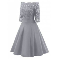 Lace Off The Shoulder Vintage Flare Dress - GRAY GRAY