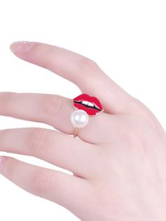 Mouth Pattern Pearl Delicate Womens Ring & Jewelry - at Jollychic