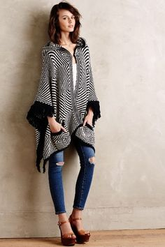 Op Art Hooded Poncho - anthropologie.com #anthroregistry