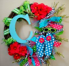 Flip Flop Summer Wreath with initial