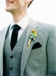#boutonniere  Photography: Katie Stoops Photography - katiestoops.com  Read More: http://stylemepretty.com/2013/01/09/reedville-virginia-backyard-wedding-from-katie-stoops-photography/