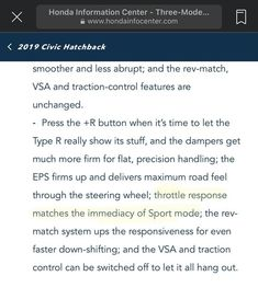 Civic Hatchback, Honda Civic Type R, Information Center, The Rev, No Response
