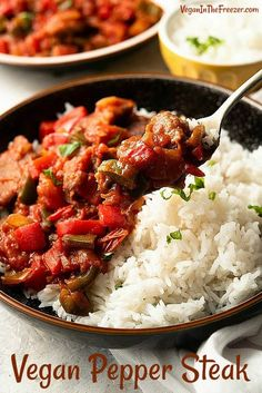 Vegan Steak over Rice is a satisfying and perfectly flavored recipe. It's full of delicious tender ingredients and is super easy to make. Vegan Pepper Steak for dinner! #veganrecipes @Healthyrecipes #veganmaindish #plantbasedmaindish