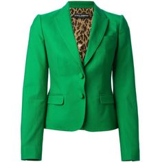 Dolce & Gabbana Classic Fitted Blazer ($799) ❤ liked on Polyvore featuring outerwear, jackets, blazers, dolce & gabbana, 1, green, fitted jacket, fitted blazers, green blazer jacket and green blazer