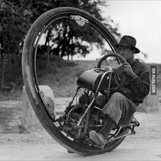 One wheeled motorcycle, 1931. Top speed of 93 mph