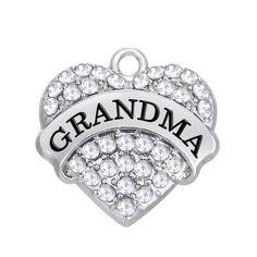 Grand-Mère Grand-Mère Grand-Mère Rose Clair Cristal Pendentif Coeur Charme Diy Jewelry Charms, Charm Jewelry, Jewelry Sets, Jewelry Accessories, Jewelry Making, Bracelet Charms, Gold Jewelry, Jewelry Bracelets, Necklaces