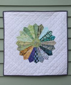 Dresden Plate (Sun) Quilted Wall Hanging- Hand Quilted, Art Quilt, Sunburst, Rainbow
