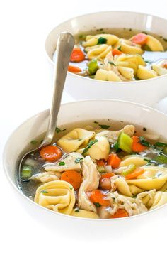Slow Cooker Chicken Tortellini Soup cooked low and slow for 6 hours! Super comforting and perfect for winter! This Slow Cooker Chicken Tortellini Soup is the perfect meal to warm you up on a cold day! This soup is loaded with veggies, shredded chicken and cheese tortellini. This soup simmers low and slow for 6 hours in the slow cooker. That means little effort and lots of flavor.