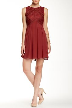 Lace Bodice Pleated Dress by Dress Forum on @HauteLook