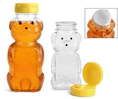 you can never have too manPlastic Bottles, Clear PET Honey Bear Bottles w/ Yellow Lined Caps
