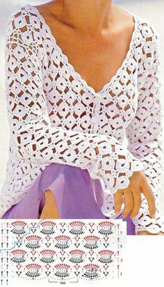 Crochet PATRÓN Puntada de circilos para blusas y jarseys a crochet y ganchillo. Crochet Cardigan Pattern, Crochet Tunic, Crochet Jacket, Freeform Crochet, Crochet Stitches Patterns, Crochet Clothes, Pull Crochet, Mode Crochet, Easy Crochet
