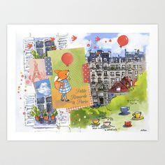 Petite Renarde à Paris Art Print by Delphine Doreau - $19.99