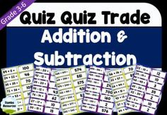 'Quiz Quiz Trade' is a great way to get your students moving and engaged! These cards are a fun way to work on addition and subtraction and can be used every day! The level of questioning is differentiated and caters to a range of abilities.Steps:1.Cut cards with questions and answers back to back.2.Give each student a card.3.Students walk around and high five the closest person.4.They take turns asking and answering the question from their card.5.They swap cards and move to the next person. Teaching Math, Maths, Teaching Resources, Math Addition, Addition And Subtraction, Math Games, Math Activities, Kids Math Worksheets, Student Engagement