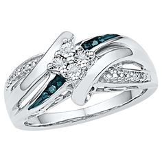 1/20 CT. T.W. Round Diamond Prong, Miracle and Nick Set Fashion Ring Sterling Silver - Blue/White