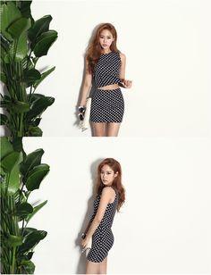 Dot Slim Fit Dress (2pcs) - DRESSES - CLOTHING - WOMEN | Korean Fashion Online Shopping Mall - KOODING.com