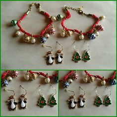 """Christmas Jewelry Set Bracelet is 8""""  Earrings are 1""""   New without tags. unbranded  Jewelry Bracelets"""