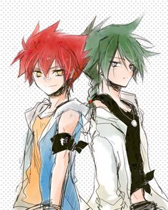Gingka and Kyoya . They look so cute in this picture!!