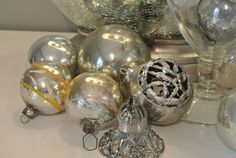 Vintage Christmas Ornament Silver Collection of 18 Shiny Brite Great Balls via Etsy