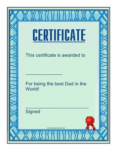 Dad Certificate