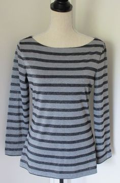 Banana Republic Gray Black Silver Lurex Stripe Boatneck Tee Shirt Sz S Holiday #BananaRepublic #KnitTop #Casual