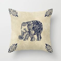 Throw Pillow featuring Simple Elephant by Rskinner1122