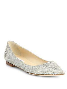 Jimmy Choo - Ailna Glitter Point-Toe Ballet Flats - Saks.com