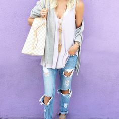 Lavender Tank | Scolloped Bralette | Ripped Denim | Rose Gold Necklace | Bauble Bar Ring | Kendra Scott Bracelets | Michael Kors Watch | LV Large Tote Maxi Dress (runs small) | Monogram Necklace | Tory Burch Sandals | Denim Jacket | Bauble Bar Ring | Kendra Scott Bracelets | Sunglasses  Ily Couture Peach Dress | …