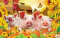 Bright Pig Pen in Autumn★ - Flowers & Nature Background ...