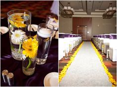 I'm normally not a fan of yellow, but it looks so nice lining the aisle with the deep purple.