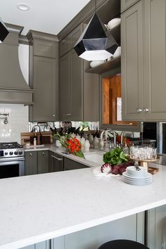 Olive green kitchen