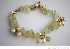 Freshwater Pearls & Chip stone beads Brass Wire Wrapped Bracelet