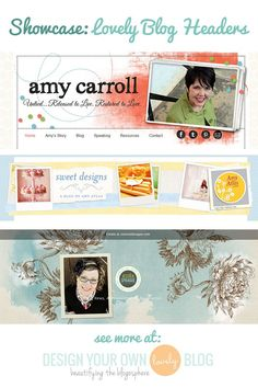 Beautiful blog headers with layers scrapbook-style. See more at DesignYourOwnBlog.com