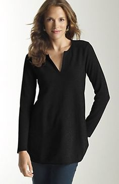 cashmere from J. Jill.  I like the v-neck and the color. very flattering