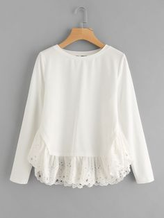 Shop eyelet embroidered ruffle trim sweatshirt online shein offers eyelet embroidered ruffle trim sweatshirt more to fit your fashionable needs fashioncombin Pullover Outfit, Blouse Outfit, Blouse Styles, Blouse Designs, Mode Outfits, Trendy Outfits, Hijab Fashion, Fashion Dresses, Fashion Styles