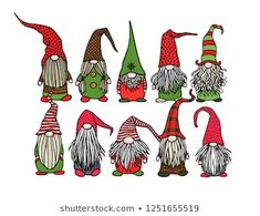 Find Vector Christmas Card Hand Drawn Cute stock images in HD and millions of other royalty-free stock photos, illustrations and vectors in the Shutterstock collection. Thousands of new, high-quality pictures added every day. Christmas Gnome, Handmade Christmas, Vector Christmas, Scandinavian Gnomes, Christmas Drawing, Funny Illustration, Bullet Journal Inspiration, Doodle Art, Yule