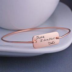 Rose Gold Custom Handwriting Bracelet